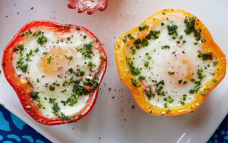 Air Fried Eggs in Red Bell Pepper Cups Recipe