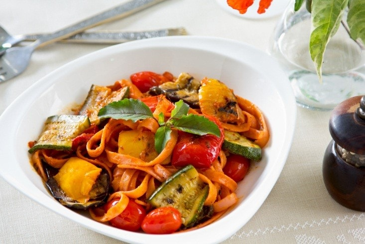 Fettuccini with Roasted Vegetables
